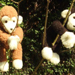 Schafwoll Kuscheltier Affe