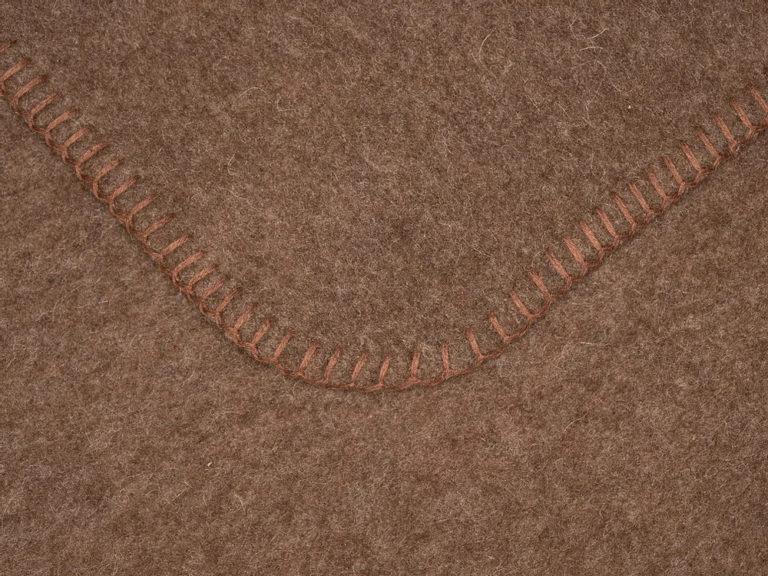 Wolldecken braun mit brauner Kettelung Detail