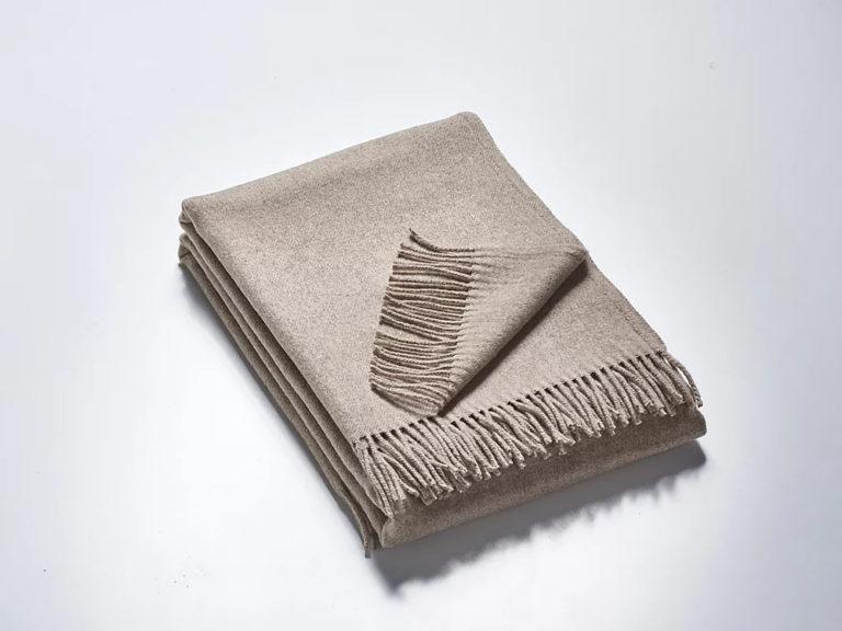 Wolldecke Plaid grau