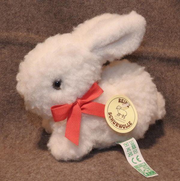 Schafwoll-Kuscheltier Hase weiß S