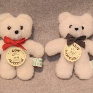 Schafwoll-Kuscheltier Teddy-Bär weiß XS