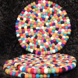 Schafwoll-Filz-Untersetzer Multicolor rund